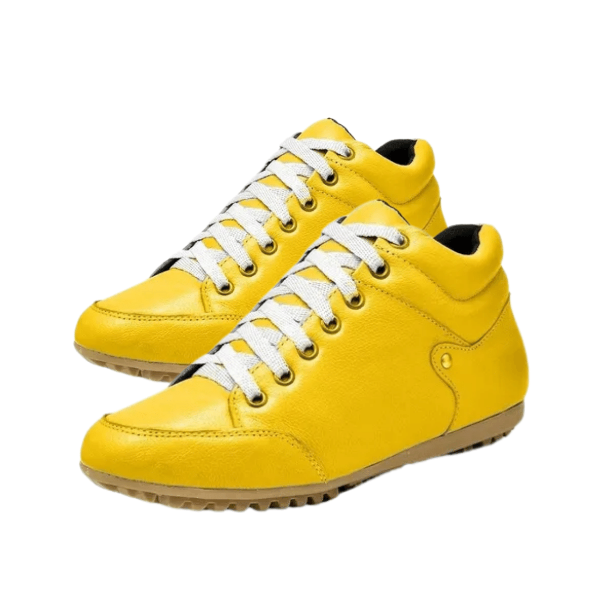 Botinha Casual Rasteira Gommix Couro Amarelo