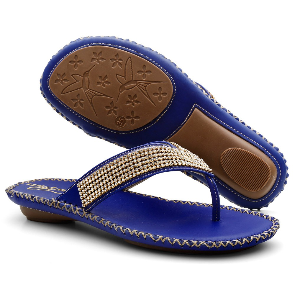 Sandálias Chinelas Couro Gommix 043 Azul