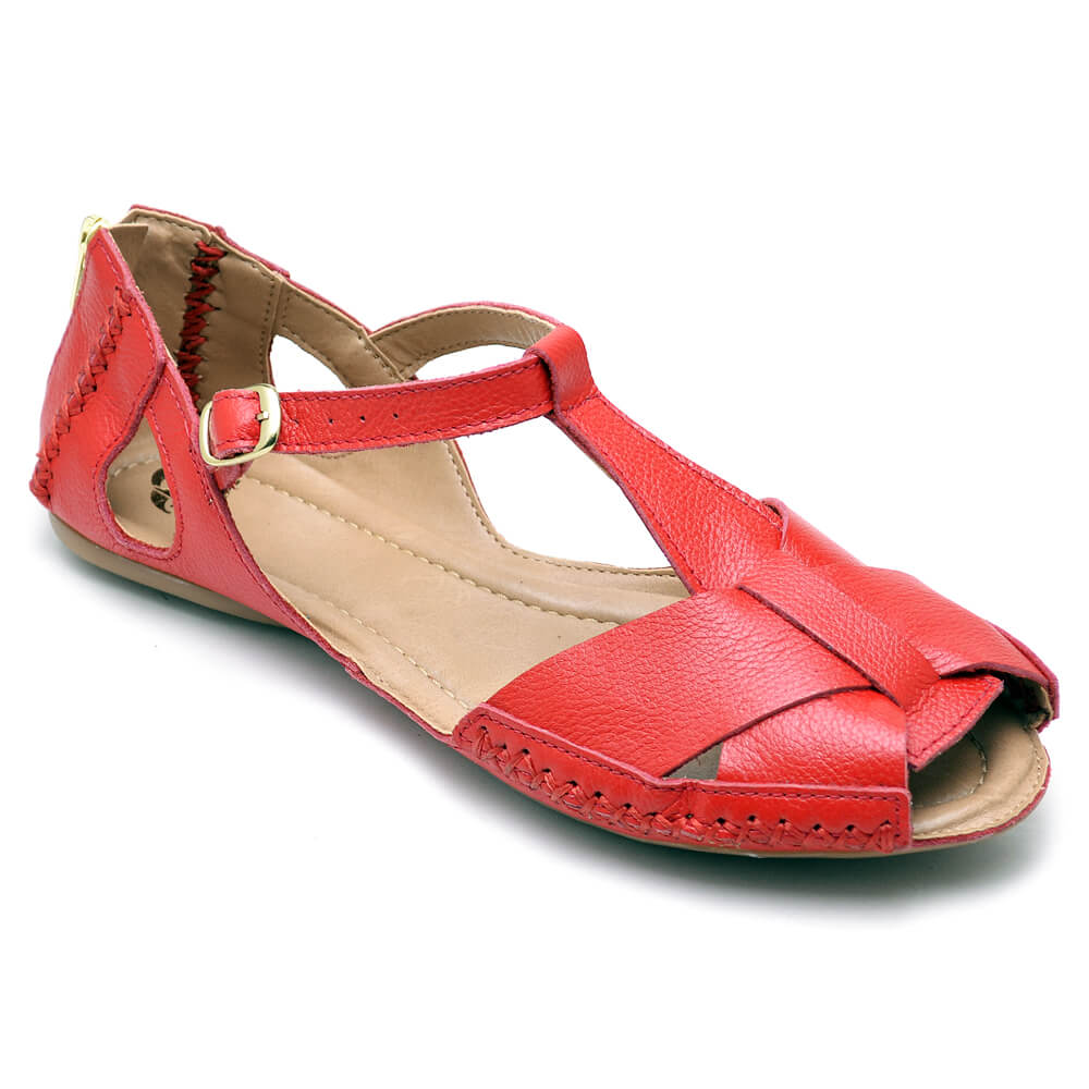 Sandálias Feminina Couro Gommix 780 Vermelha