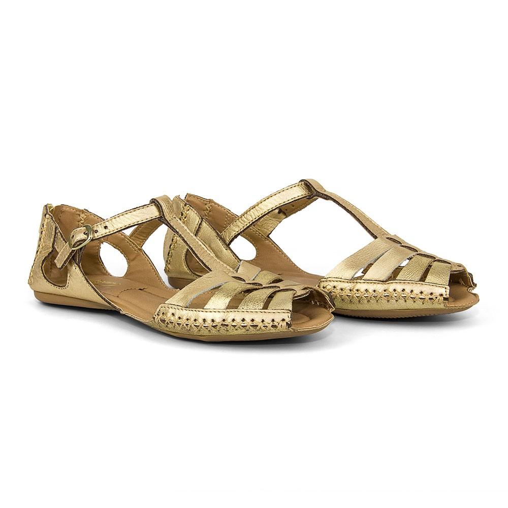 Sandálias Feminina Couro Gommix Ouro