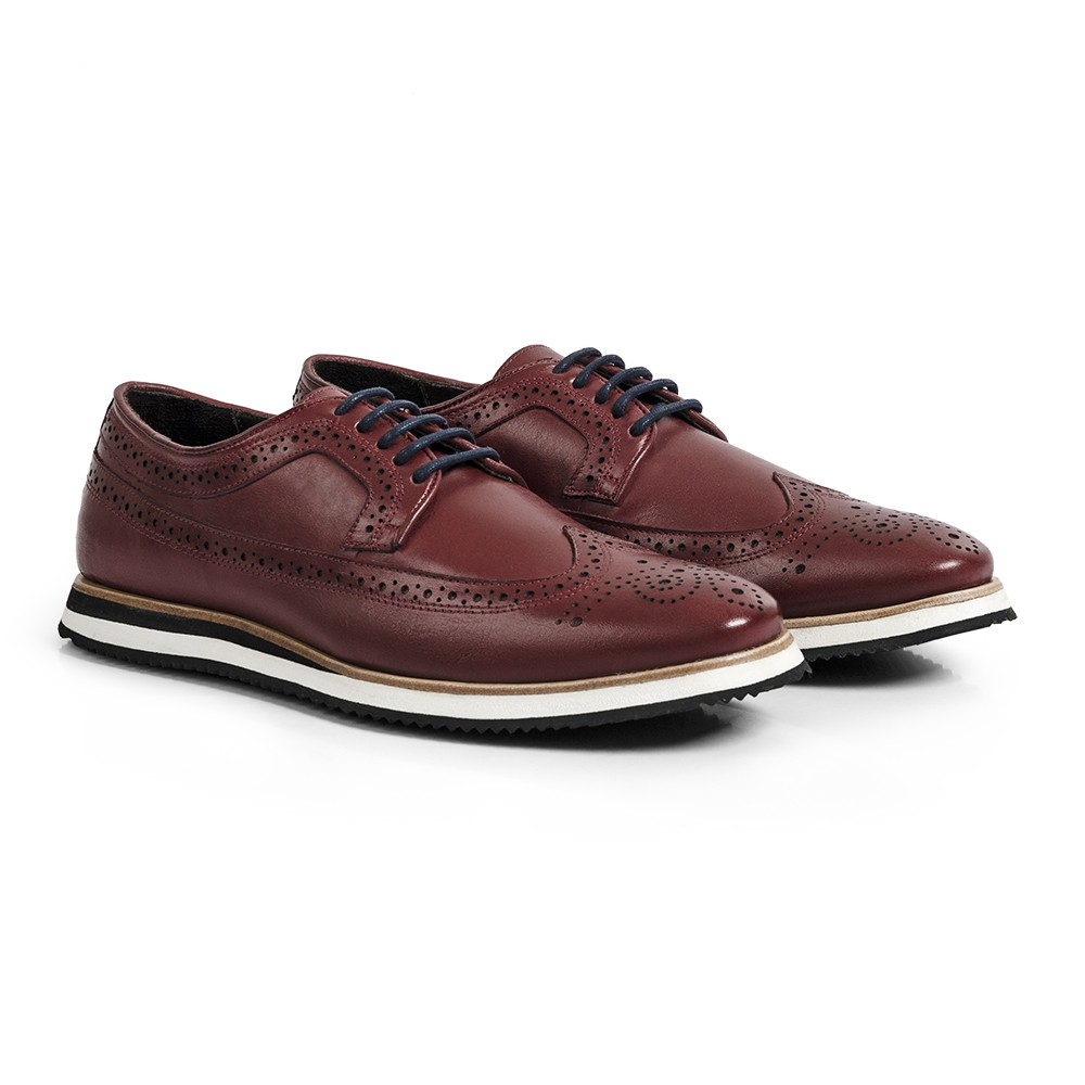 Sapato Casual Brogue Durhan Gommix Bordo