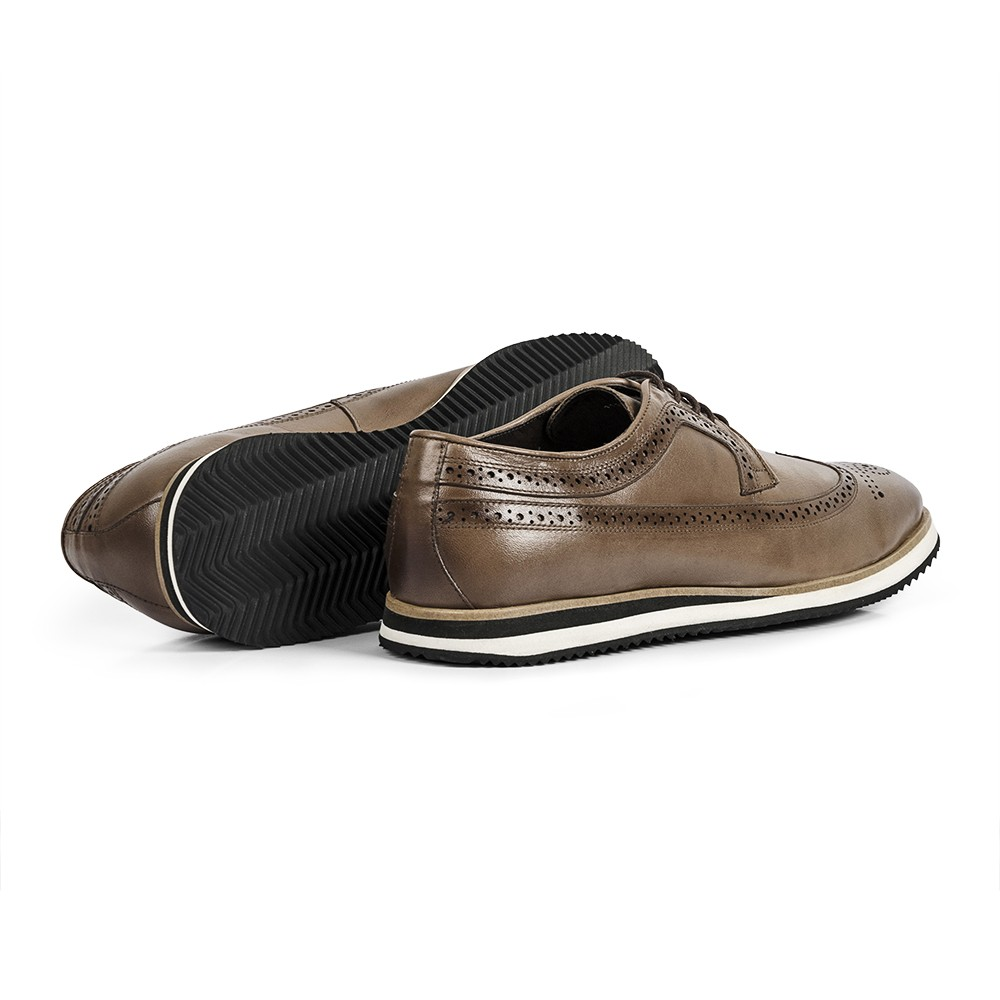 Sapato Casual Brogue Durhan Gommix Bege Avelã
