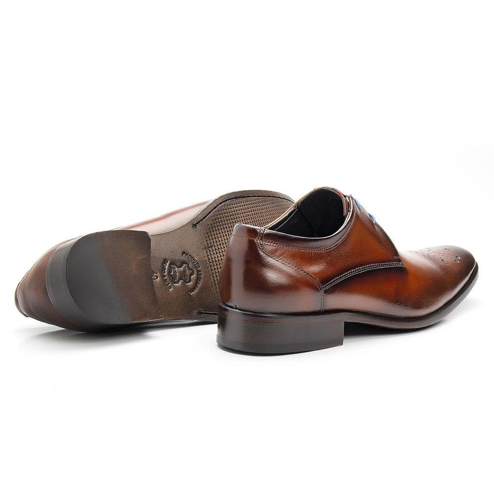 Sapato Masculino Social Brogue Couro Legítimo Orange