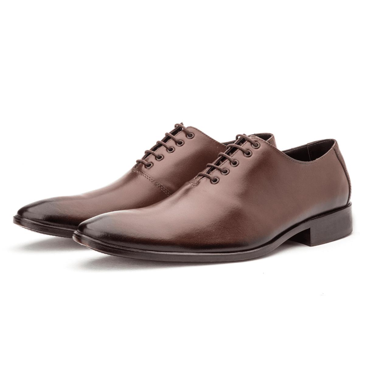 Sapato Masculino Wholecut em Couro Legítimo Café Lançamento