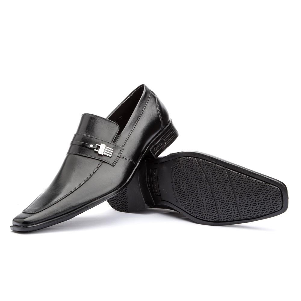 Sapato Social Clássico Fivela 430 Couro Preto