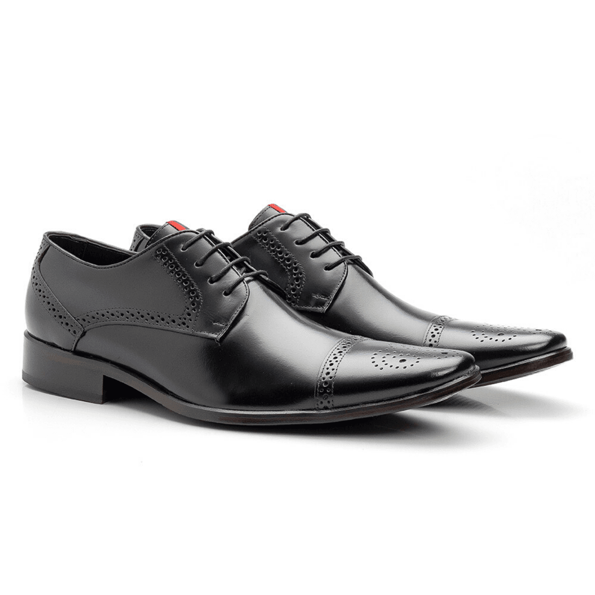 Sapato Social Masculino Brogue Couro Legítimo Preto