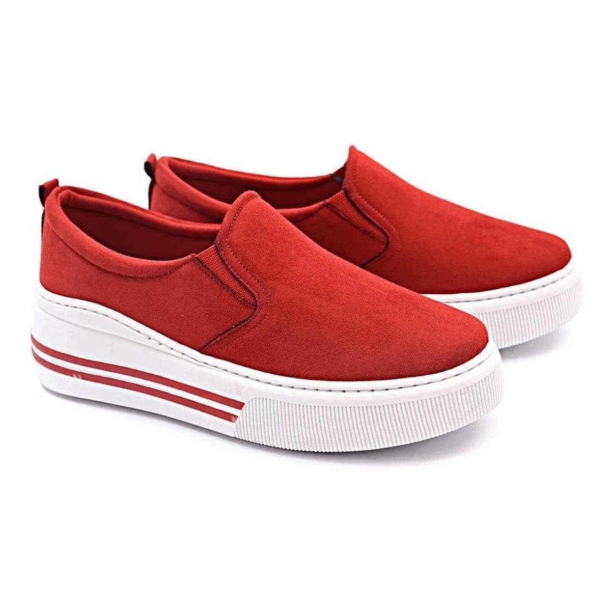 Slip On Tênis Gommix Shoes 107 Sola Alta Vermelho