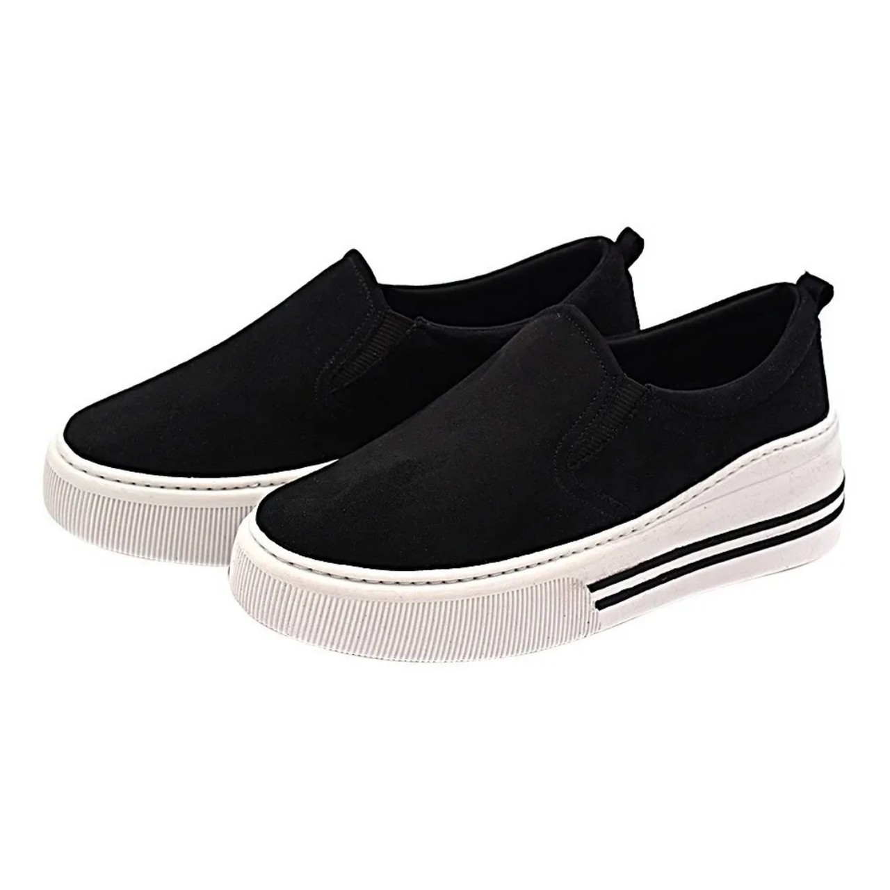 Slip On Gommix Shoes 112 Sola Alta Suede Preto