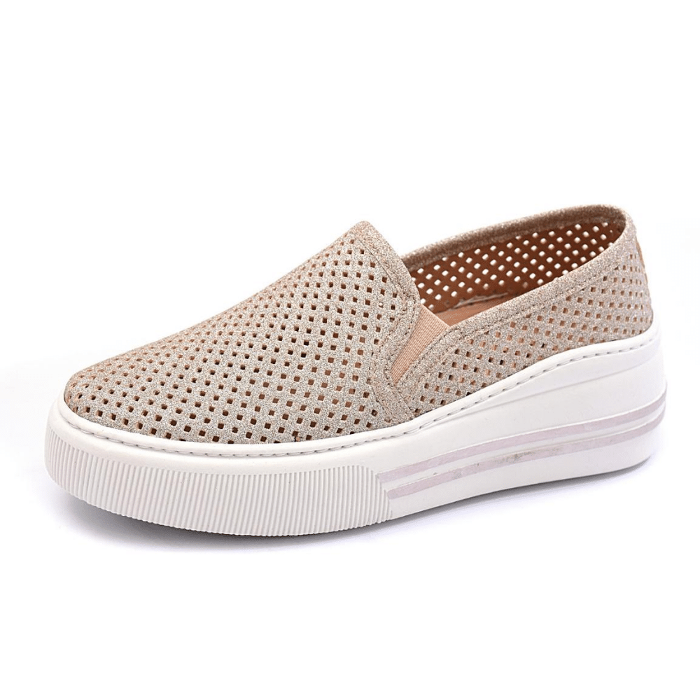 Slip On Tênis Gommix Shoes 086 Sola Alta Champanhe