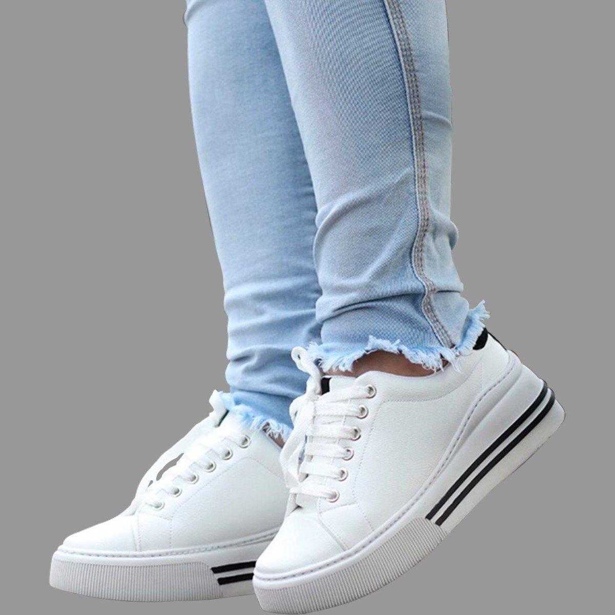 Tênis Casual Feminino Branco/Preto Gommix Shoes