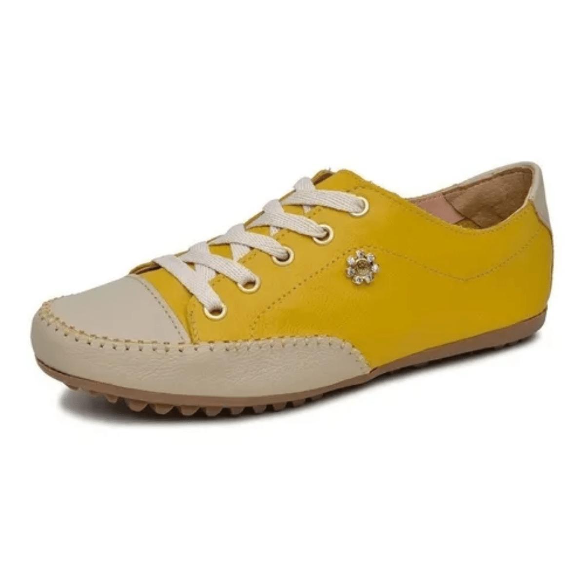 Tênis Feminino Casual Gommix Couro Amarelo e Bege