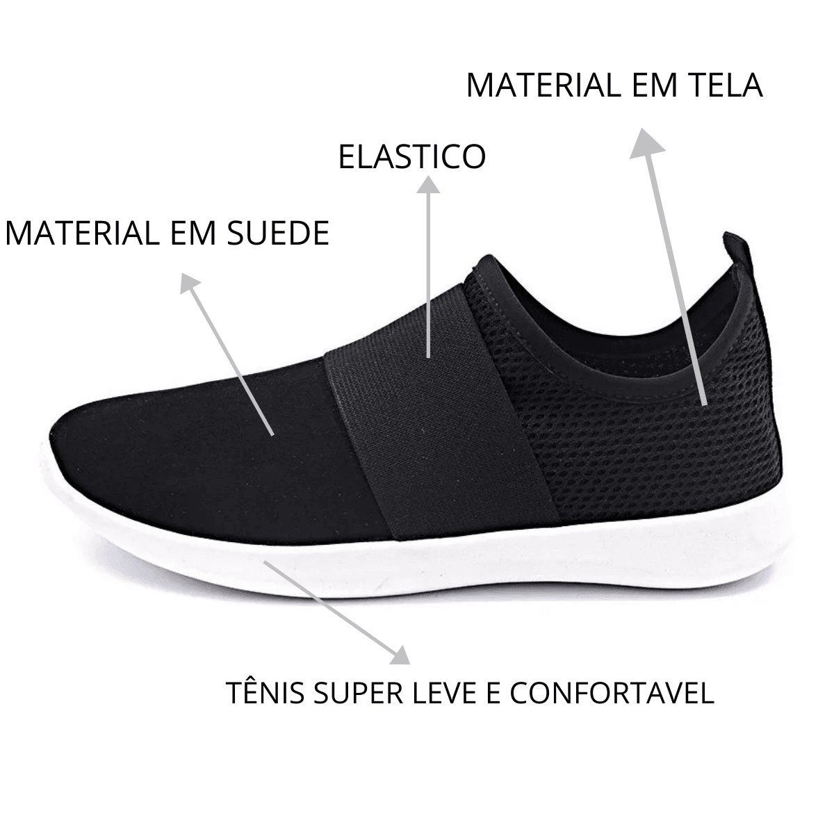 Tênis Slip On Gommix Shoes 254 Calce Fácil Preto