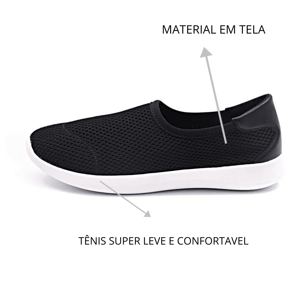 Tênis Slip On Gommix Shoes 255 Super Leve Preto