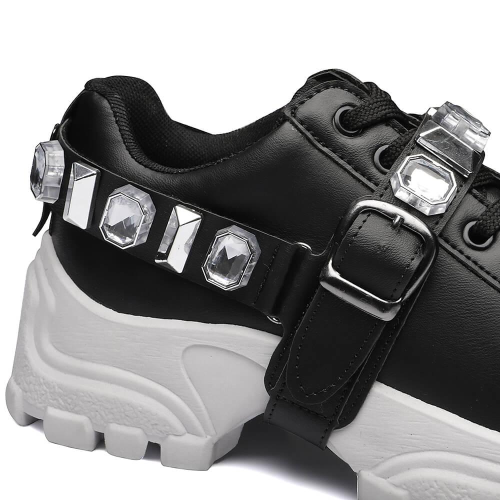 Tênis Sneaker Pedraria Gommix Chunky Preto