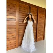 Vestido de noiva longo, corselet, lastex na lateral do busto e babados na saia