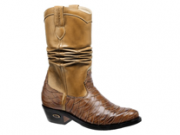 Bota Texana Escamada HB Agabe Boots 200.000e - Lt Camel + Havana - Solado de Couro com Borracha