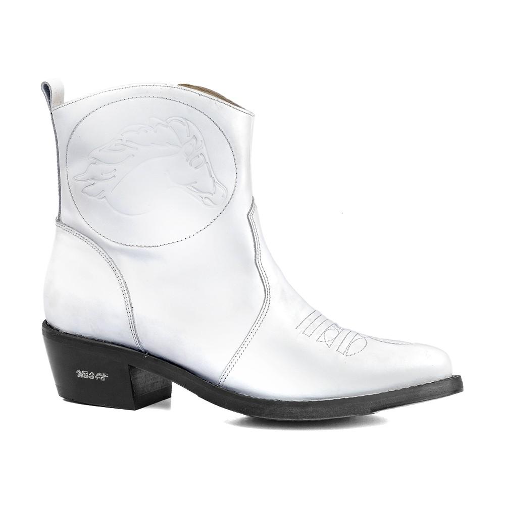 Bota Masculina Country Texana HB Agabe Boots 100.000 - Lt Branca - Sola de Couro Com Borracha