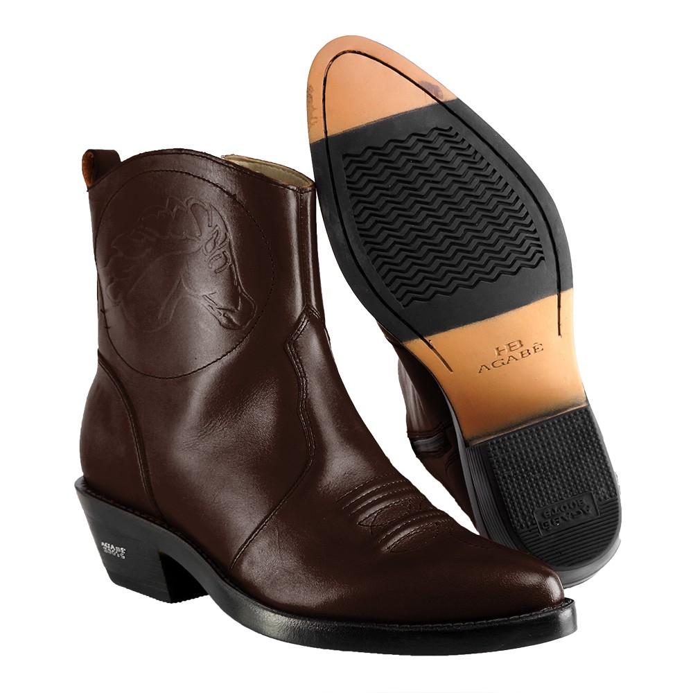 Bota Masculina Country Texana HB Agabe Boots 100.000 - Lt Café - Sola de Couro Com Borracha