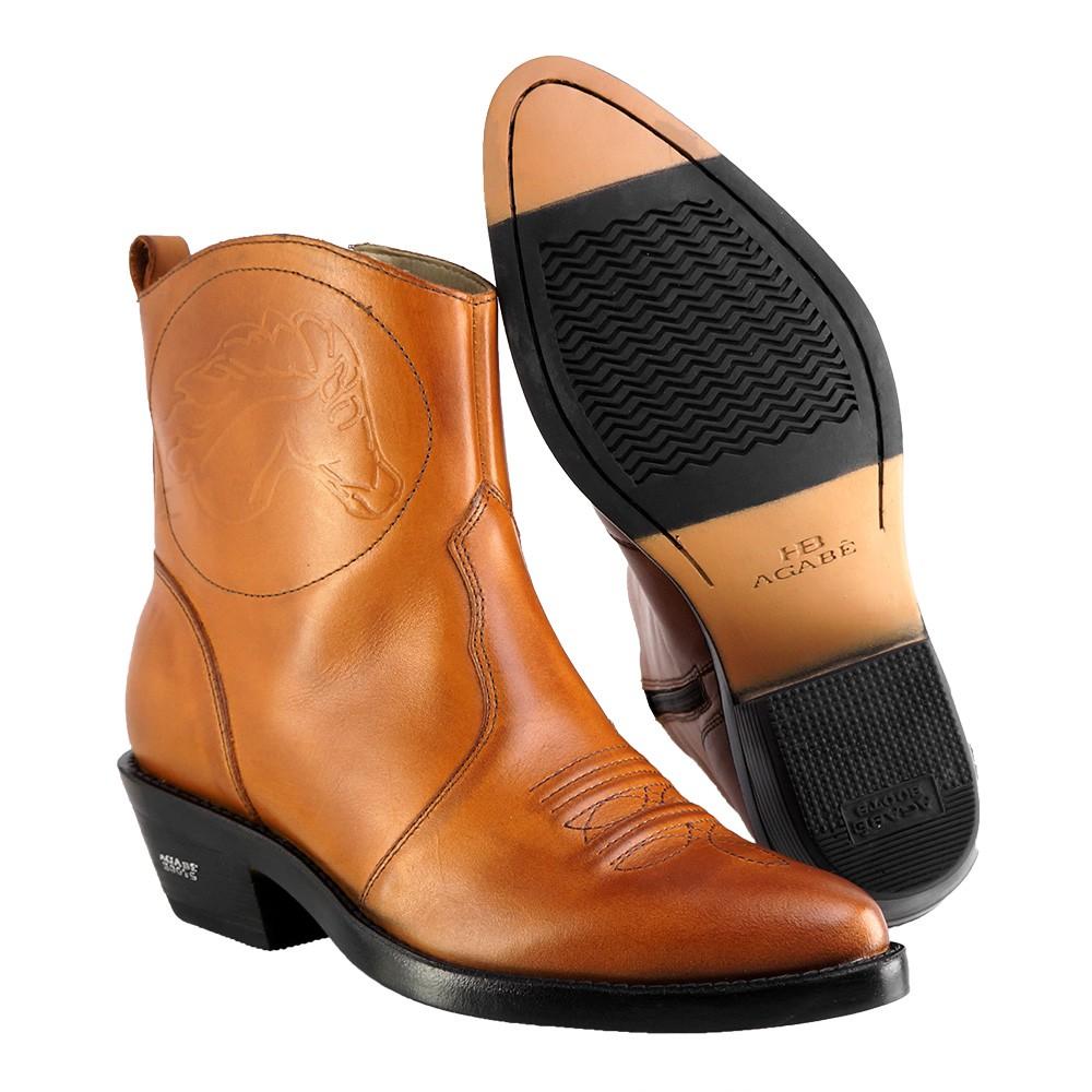 Bota Masculina Country Texana HB Agabe Boots 100.000 - Lt Havana - Sola de Couro Com Borracha
