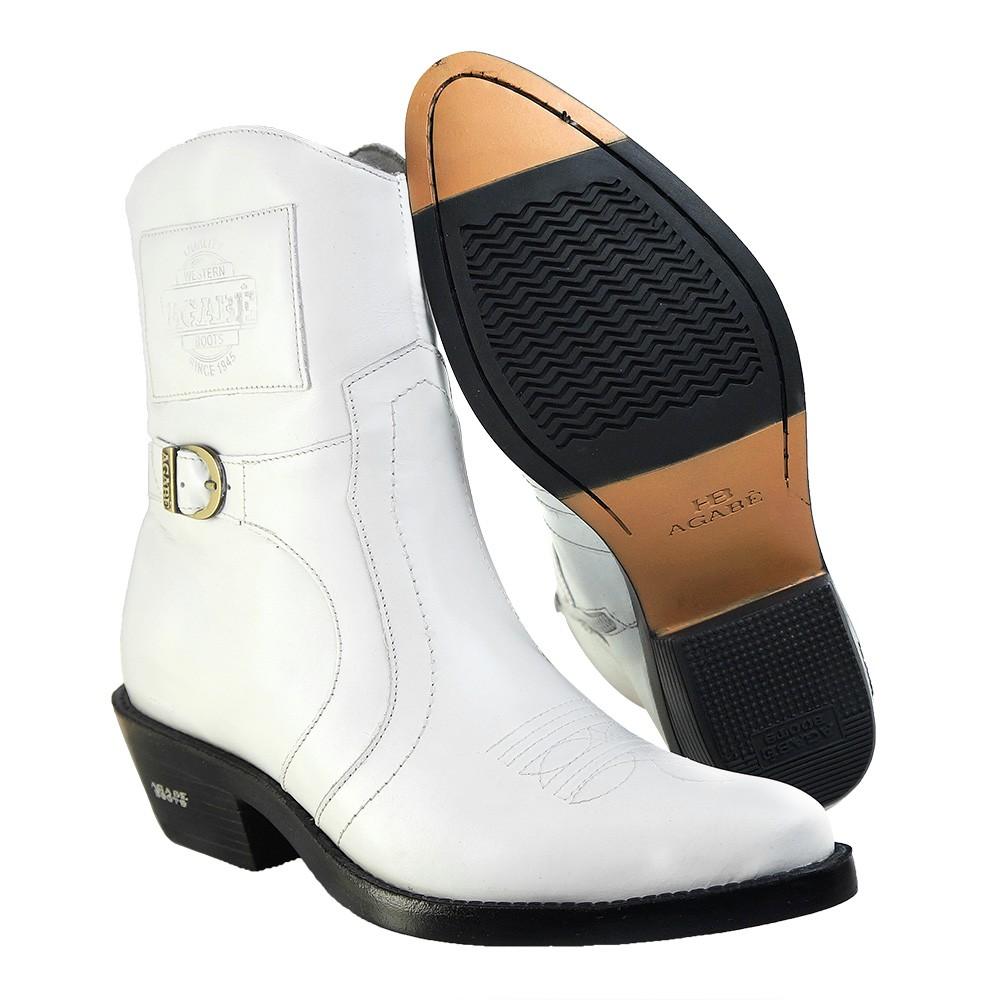 Bota Masculina Country Texana HB Agabe Boots 100.001 - Lt Branca - Sola de Borracha