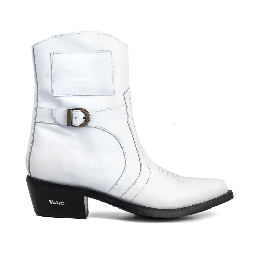 Bota Masculina Country Texana HB Agabe Boots 100.001 - Lt Branca - Sola de Couro Com Borracha