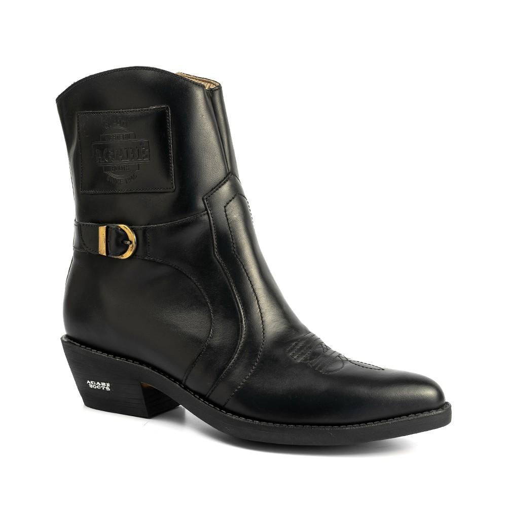 Bota Masculina Country Texana HB Agabe Boots 100.001 - Lt Preto - Sola de Couro Com Borracha