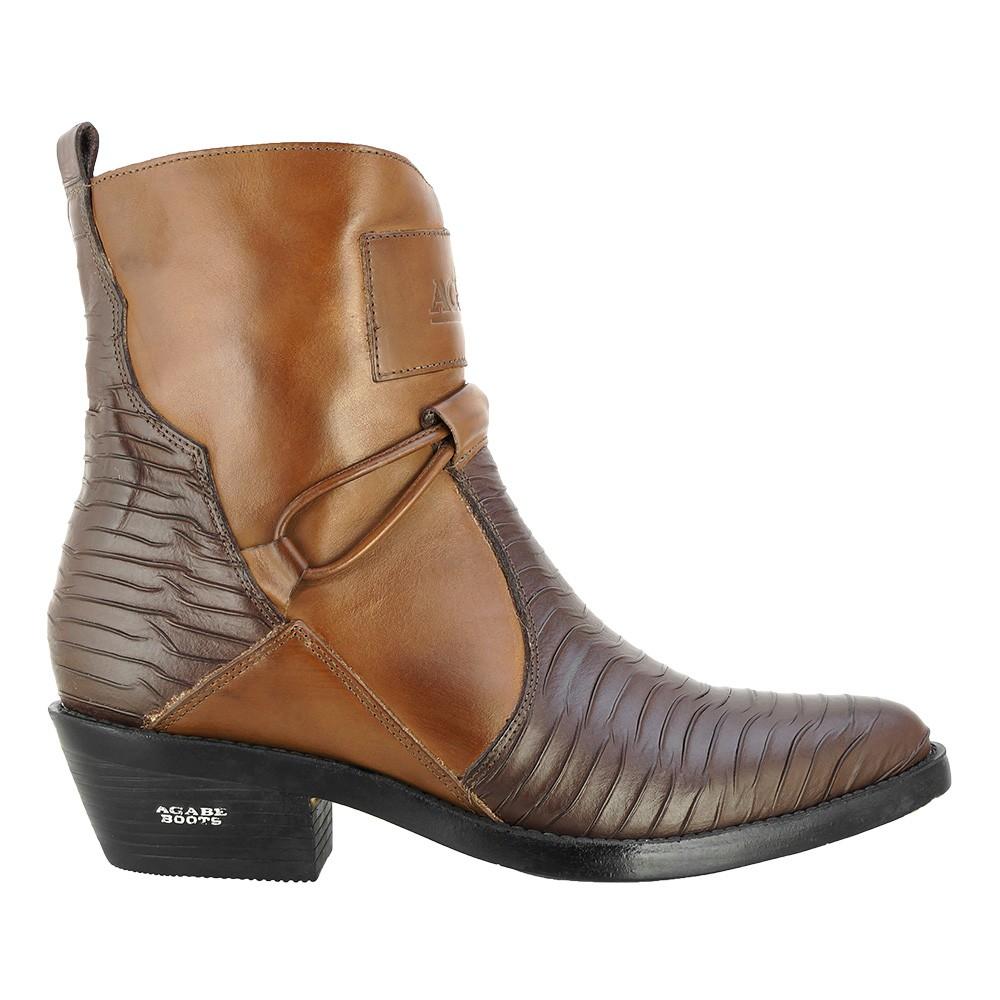 Bota Masculina Country Texana HB Agabe Boots 100.002P - Lt Café + Marrom - Sola de Couro com Borracha