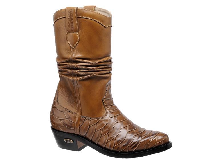 Bota Texana Escamada HB Agabe Boots 200.000e - Lt Marrom + Havana - Solado de Couro com Borracha