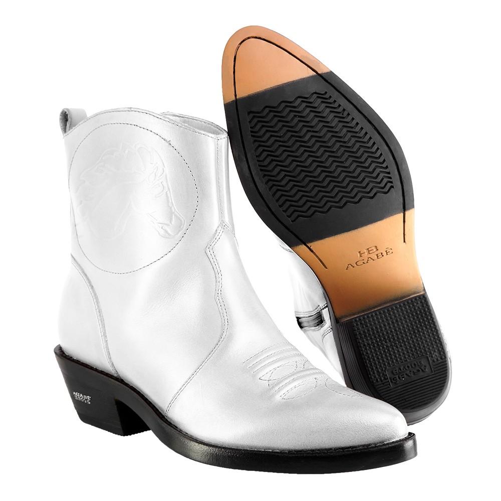 Bota Texana Hb Agabe Boots 102.001 - Lt Branco - Solado de Couro com Borracha