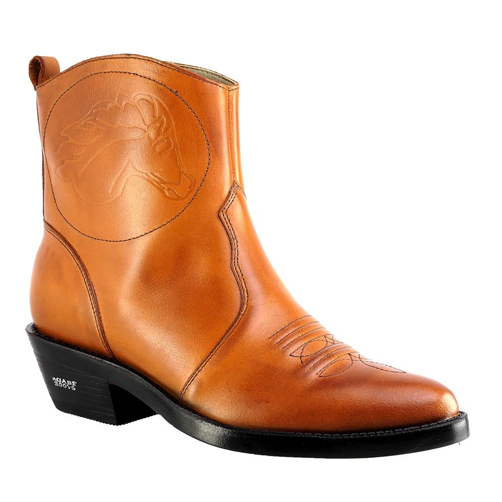 Bota Texana Hb Agabe Boots 102.001 - Lt Havana - Solado de Couro com Borracha