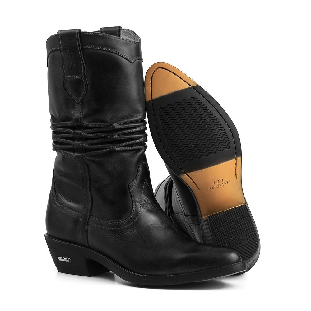 Bota Texana HB Agabe Boots 200.000 - Lt Preto - Solado de Borracha