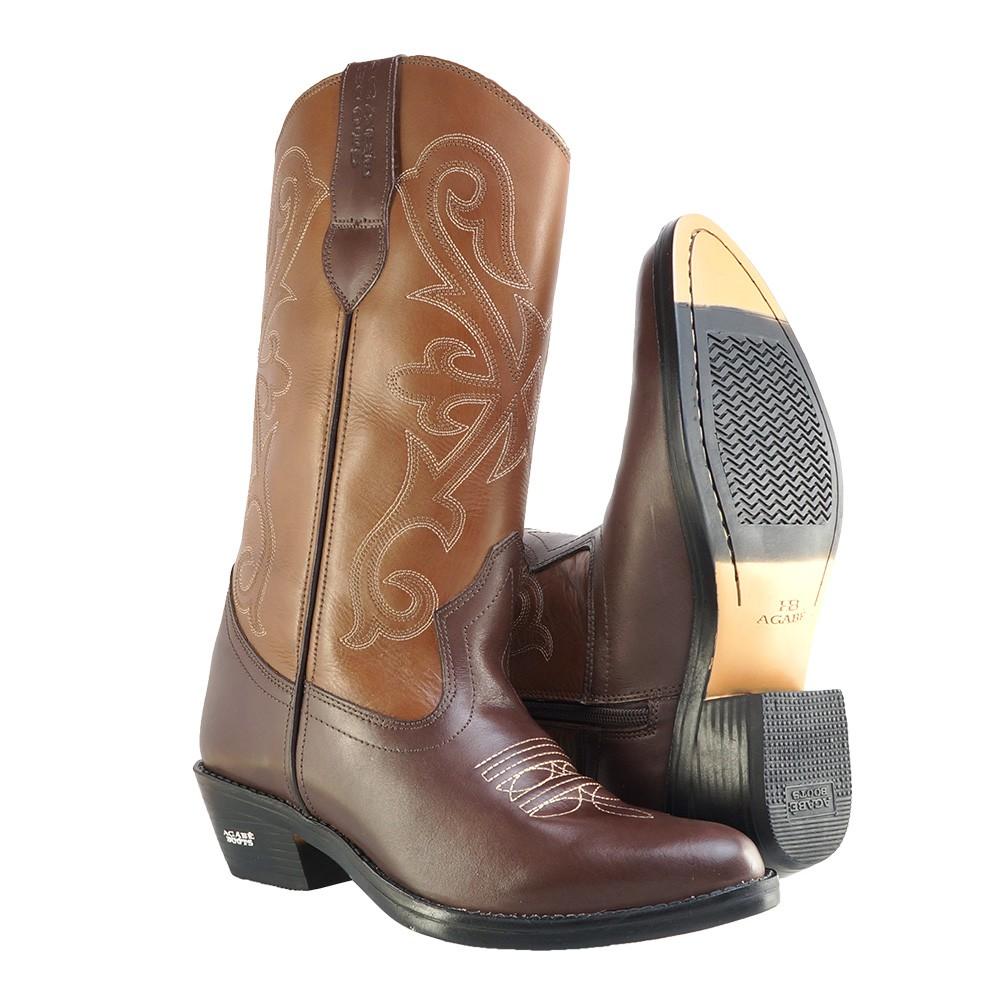 Bota Texana HB Agabe Boots 200.002 - Lt Café + Marrom - Solado de Borracha