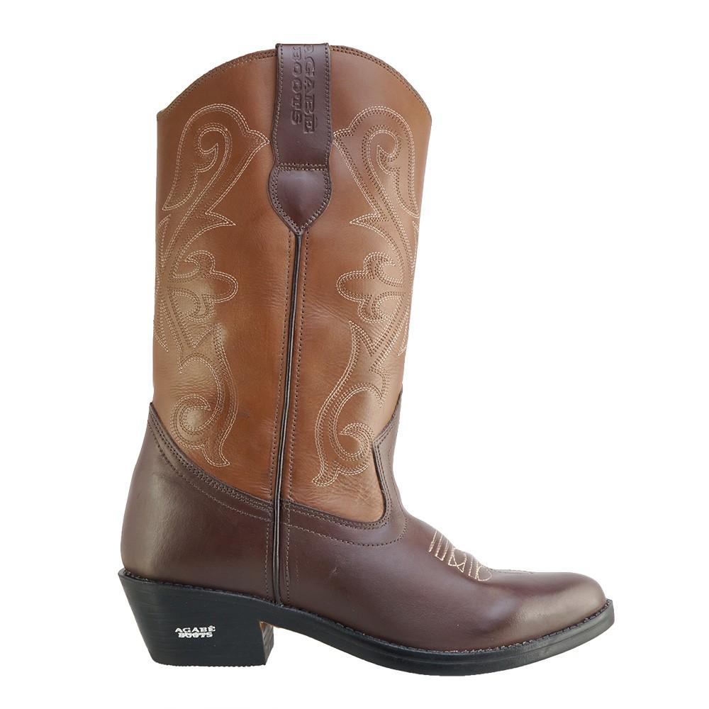 Bota Texana HB Agabe Boots 200.002 - Lt Café + Marrom - Solado de Couro com Borracha