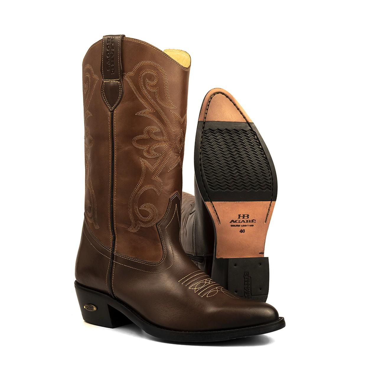 Bota Texana HB Agabe Boots 200.004 - Lt Café + Marrom - Solado de Borracha