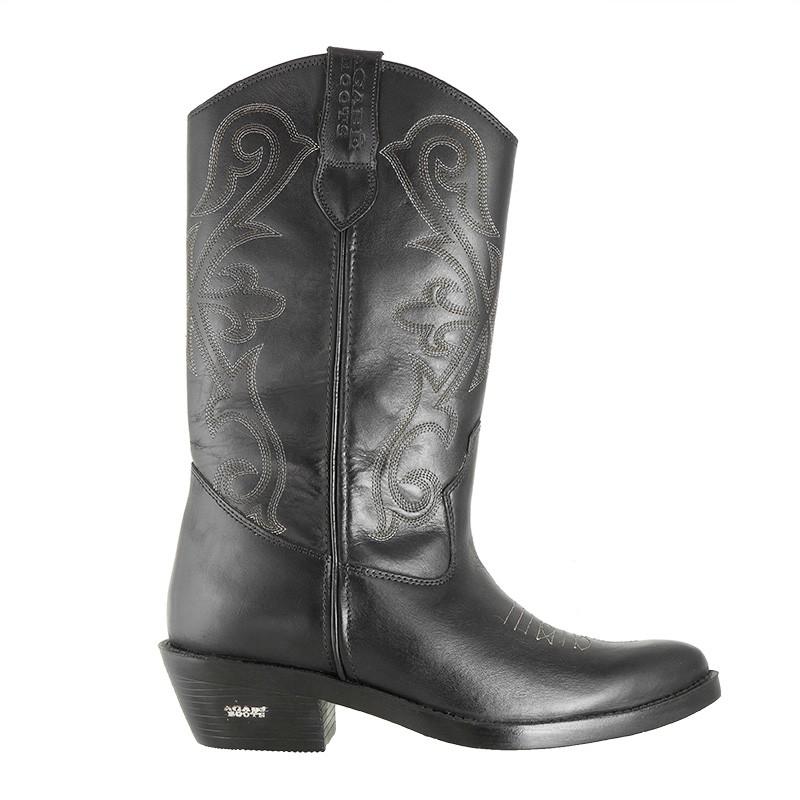 Bota Texana HB Agabe Boots 200.004 - Lt Preto - Solado de Couro Com Borracha