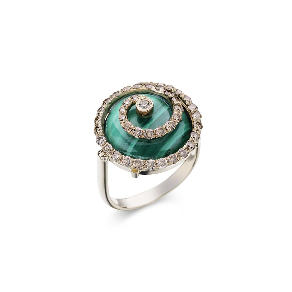 Anel de Ouro Antique 18K com Malaquita e Diamante - Coleção Caracol
