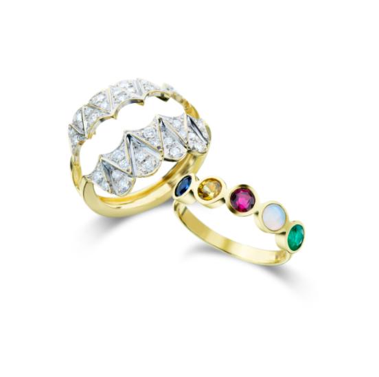 Anel de Ouro 18K Diamante, Esmeralda, Opala, Rubelita e Safira - Coleção Vitrais