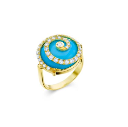 Anel de Ouro Amarelo 18K com Turquesa e Diamante - Coleção Caracol