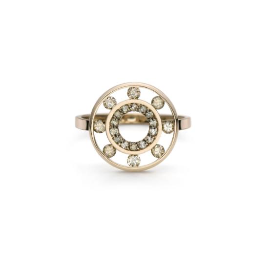 Anel de Ouro Amarelo 18K e Diamantes - Coleção Floating Diamonds