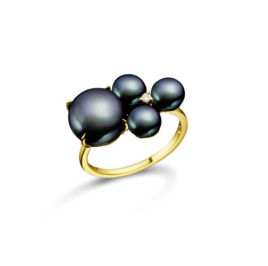 Anel Fruto de Ouro 18K com Diamante e Pérolas Negras - Coleção H'eras