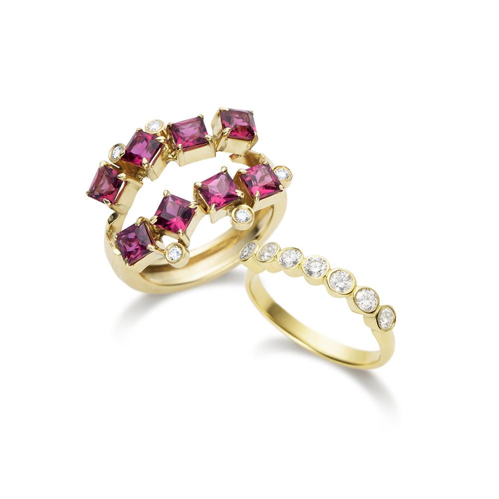 Anel de Ouro 18K Rubelitas e Diamantes - Coleção On and Off