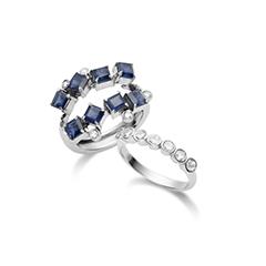 Anel de Ouro Branco 18K Safira Azul e Diamantes - Coleção On and Off