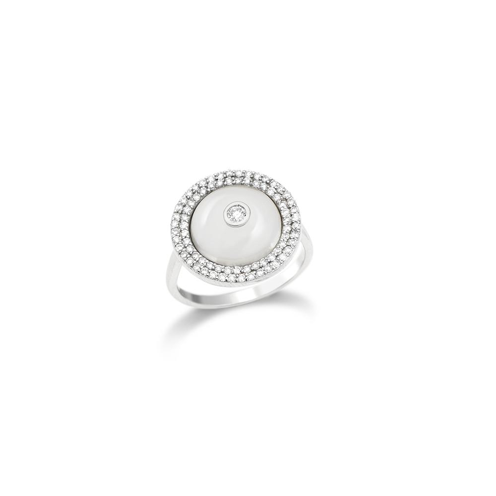 Anel de Ouro Branco 18K Quatzo e Diamante - Coleção Tuileries