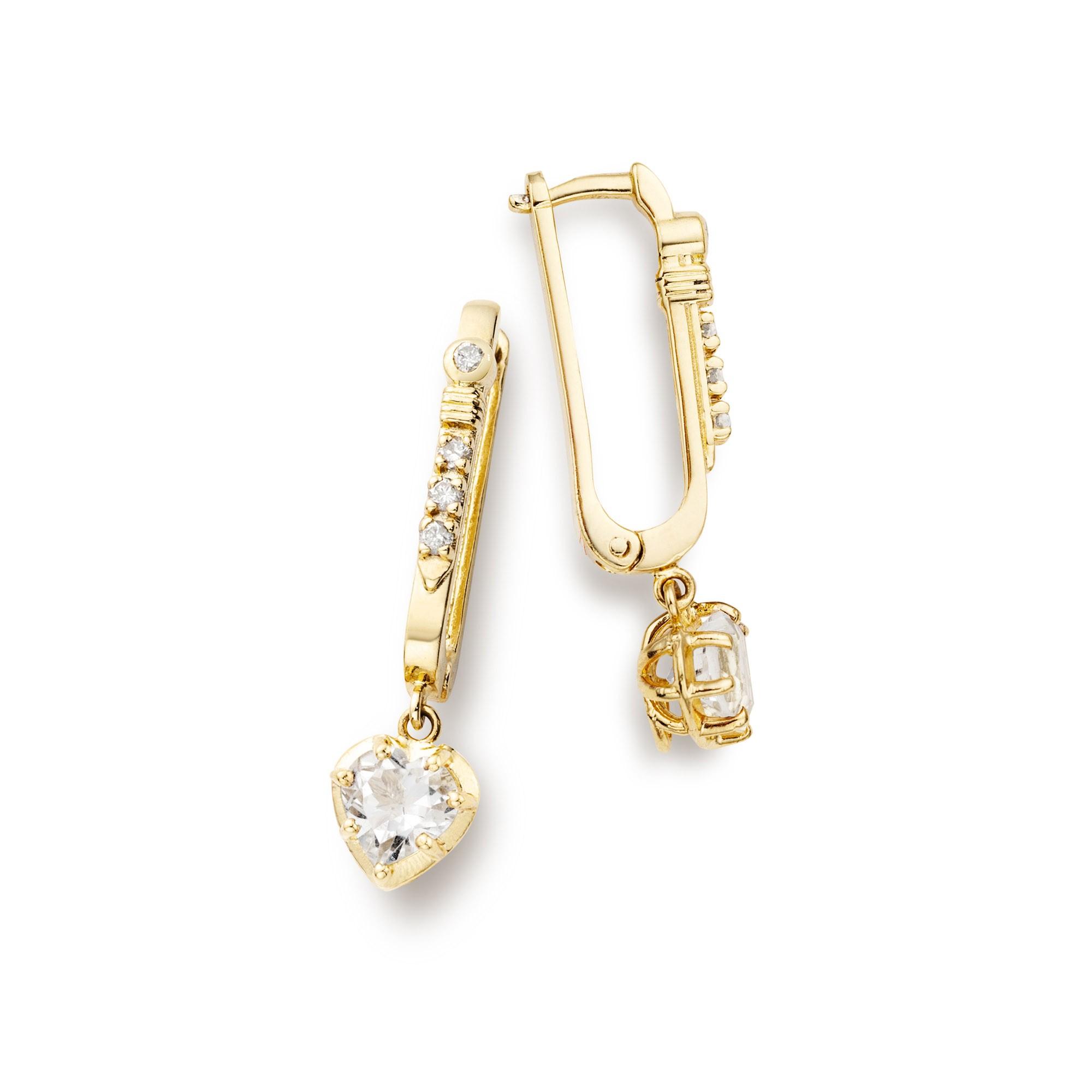 Brinco em Prata com Banho de Ouro 18K, Diamante e Quartzo - Crush Collection
