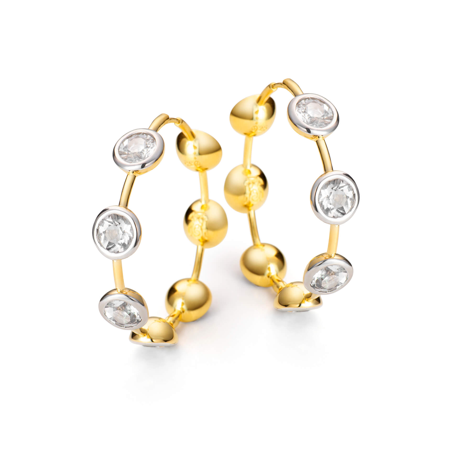 Brinco Maxi Argola de Prata com Banho de Ouro Branco e Amarelo 18K e Quartzo - Coleção Maxi Love
