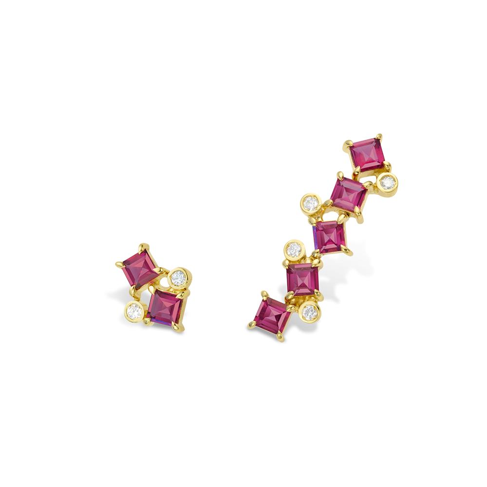 Brinco de Ouro 18K Rubelita e Diamante - Coleção On and Off