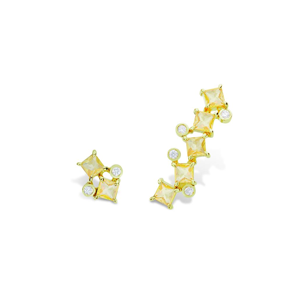 Brinco de Ouro 18K Safira Amarela e Diamante - Coleção On and Off
