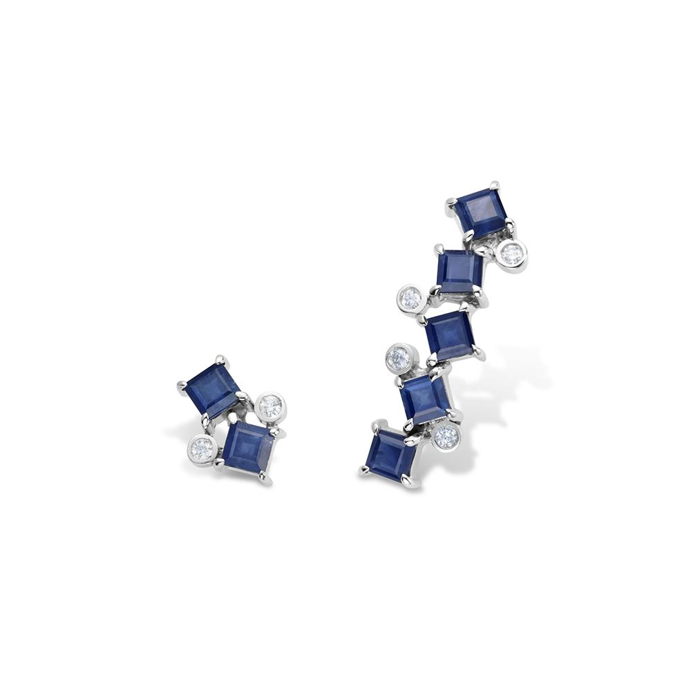 Brinco de Ouro Branco 18K Safira Azul e Diamante - Coleção On and Off