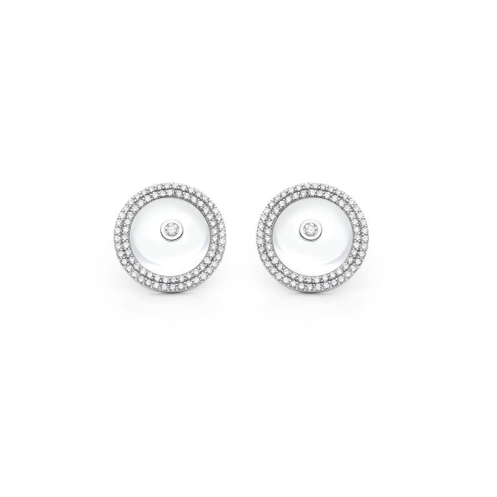 Brinco de Ouro Branco 18K Quartzo e Diamante - Coleção Tuileries