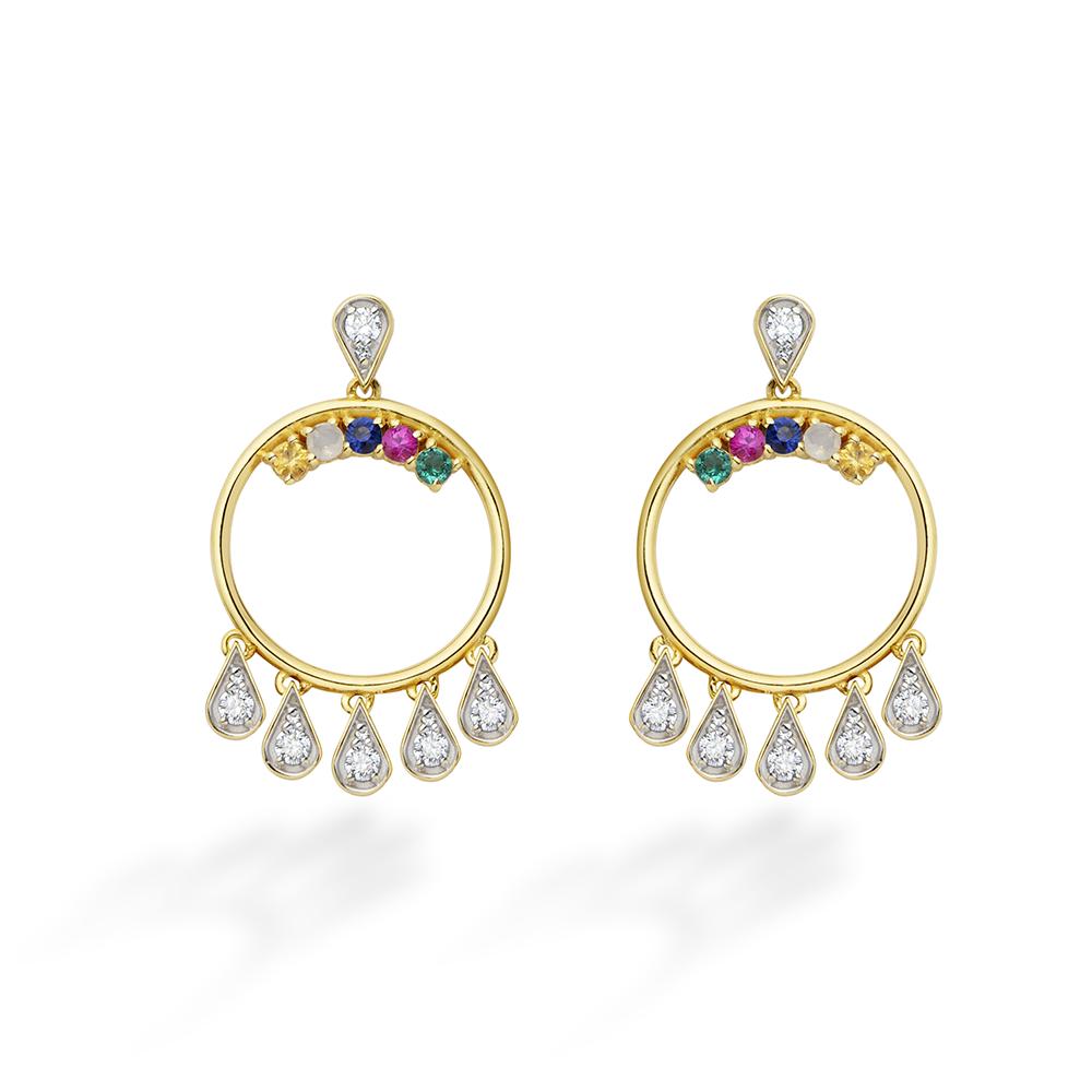 Brinco de Ouro 18K Diamante, Esmeralda, Opala, Rubelita e Safira - Coleção Vitrais